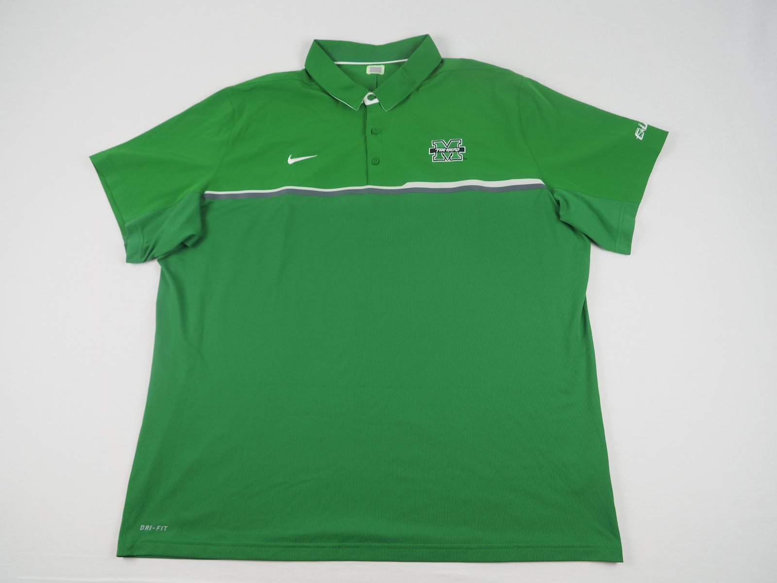 db877bad Details about Nike Marshall Thundering Herd - Green Poly Polo Shirt (3XL) -  Used